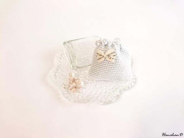 リボンのミニ巾着 手編みレースベビーアクア