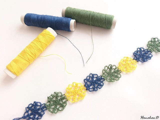 縫い糸モチーフミサンガ 手編み3colMIX