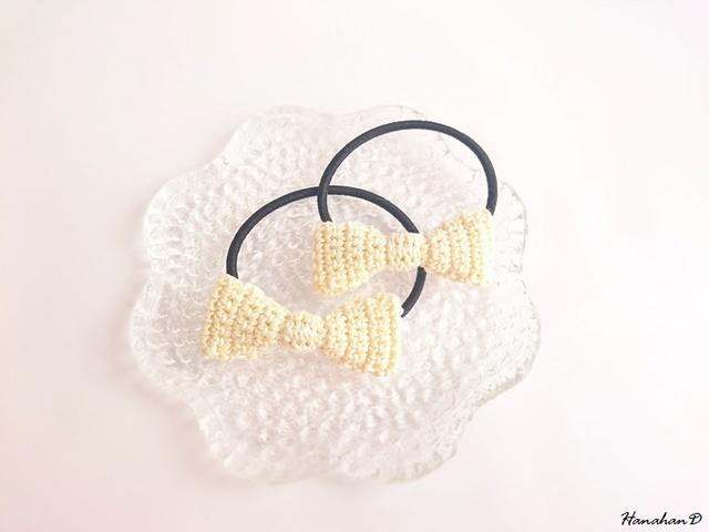 リボンのヘアゴムセット 手編みレースベビーイエロー