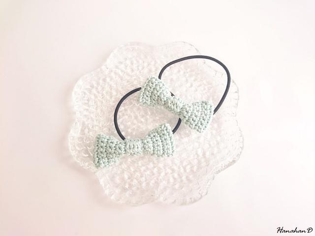 リボンのヘアゴムセット 手編みレースグリーン