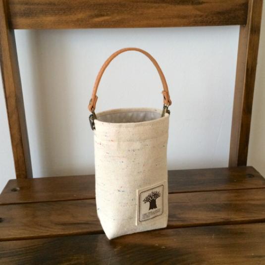 帆布と防水生地で[水玉] 携帯ゴミ箱・ゴミ袋 ミニバッグ