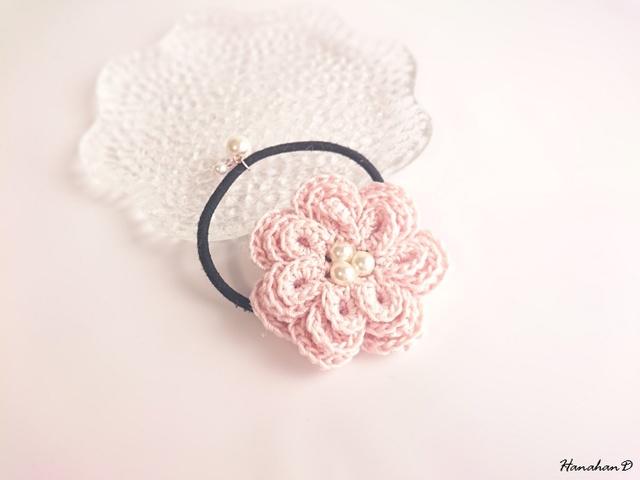 ローズパールヘアゴム 手編みレースピンク