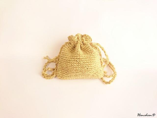 ベルギーリネンの巾着 手編みイエロー