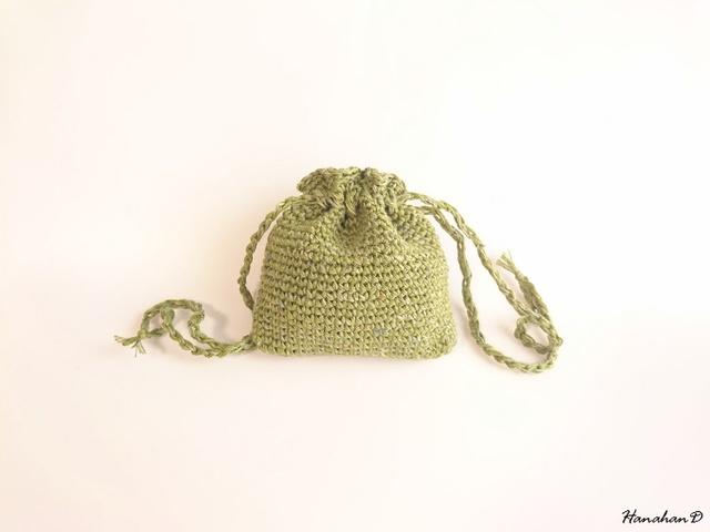 ベルギーリネンの巾着 手編みグリーン