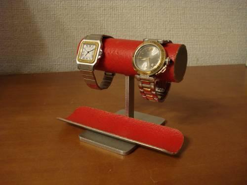 \t 腕時計スタンド レッド2本掛けウォッチ収納ケーススタンド