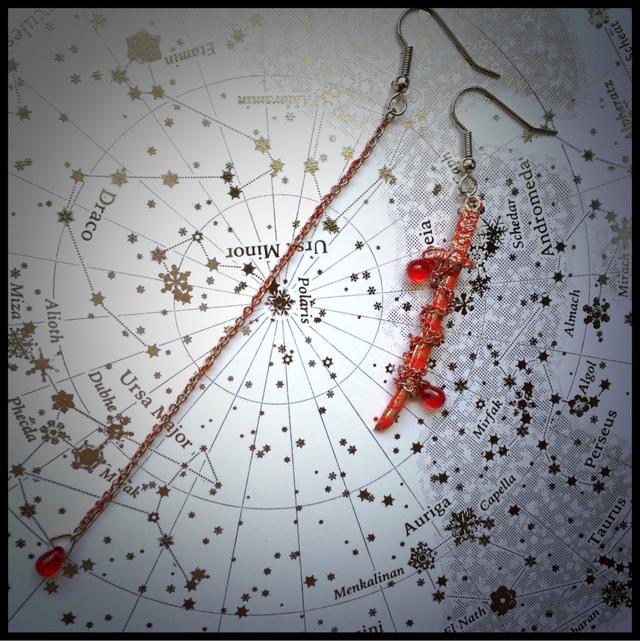 朱い血の滴る封印された刀ピアス(SLV)