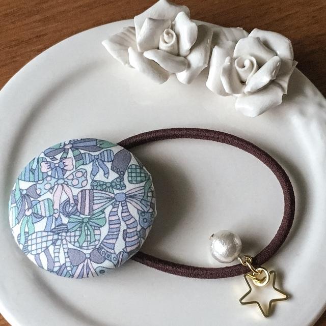 リバティ☆ Jenny's Ribbons くるみボタンヘアゴム オーシャンブルー