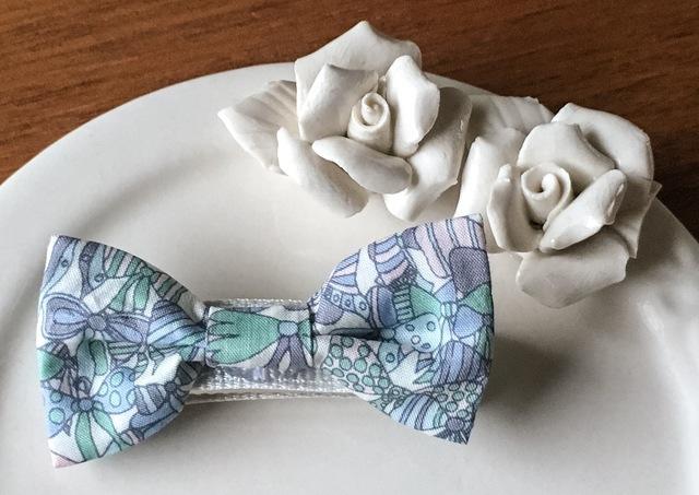 リバティ☆ Jenny's Ribbons ベビー&キッズヘアクリップ オーシャンブルー