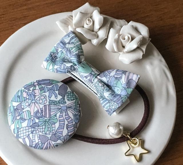 ママとお揃いリバティ☆ Jenny's Ribbons オシャレセット オーシャンブルー