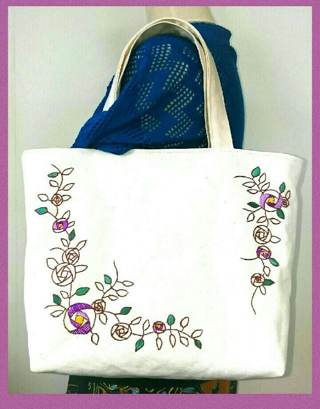 紫の薔薇のトートバッグ(手刺繍&ビーズ)