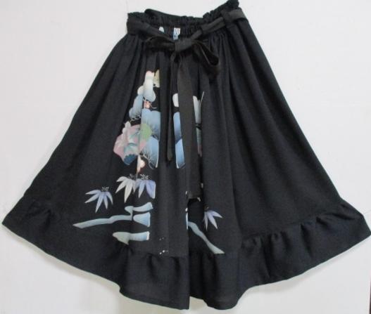 着物リメイク 色留袖で作った膝丈スカート 1746