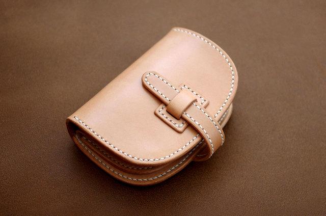 本革ハーフサイズ財布 フラップ (受注製作)