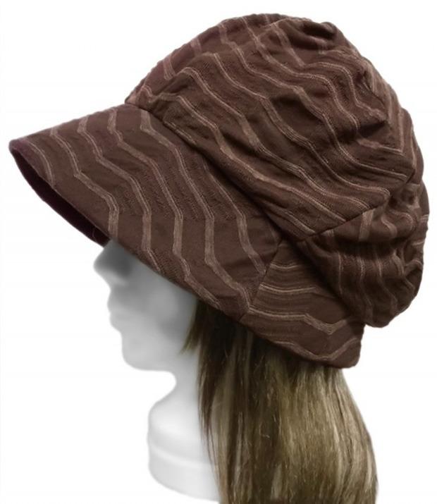 変り織ボーダー調ニット/セレブ帽子(ゆったり)◆茶系
