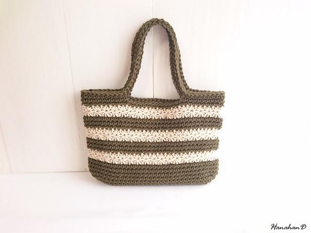 ボーダーコットンバッグ 手編みカーキー