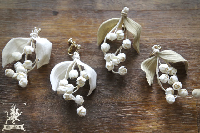 hanachanmanさま 予約品 earring  【 布花片耳イヤリング * lily of the valley ... green 】
