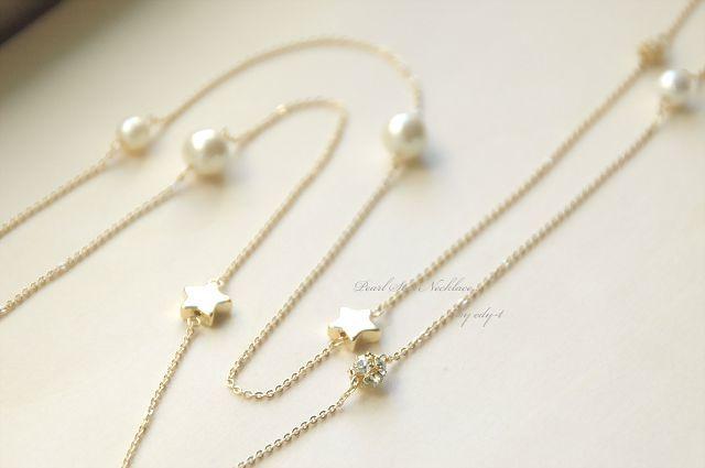星とパールのゴールドロングネックレス
