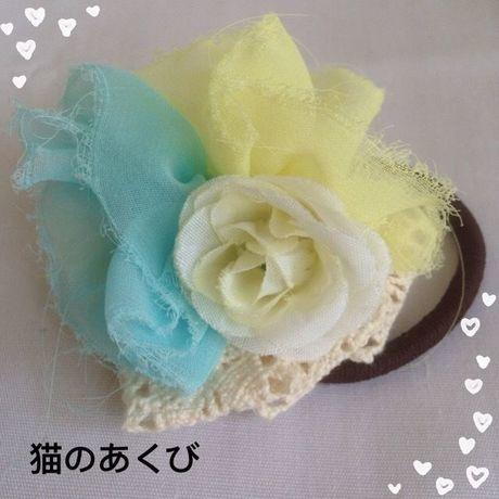 新春セール送料☆彡26 ヘアゴム レース付 バラ(ホワイト)