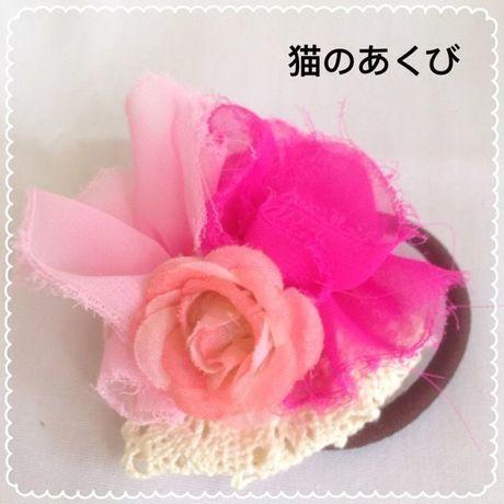 新春セール送料☆彡29 ヘアゴム レース付 バラ(ピンク)