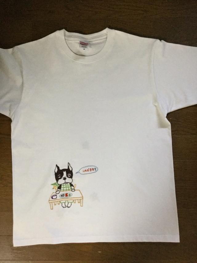ボストンテリアの手刺繍Tシャツ8