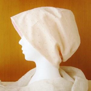 夏に涼しく下地にもなる ゆったりガーゼ帽子 ベージュ水玉/ピンク (CGR-005-BP)