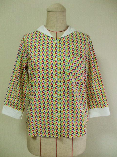 セーラー衿8分丈袖ブラウス M〜Lサイズ 幾何学模様