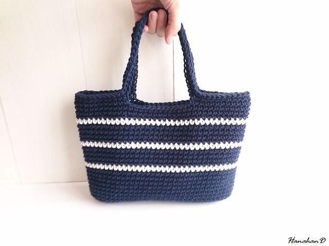ボーダーコットンバッグ 手編みネイビー&ホワイト