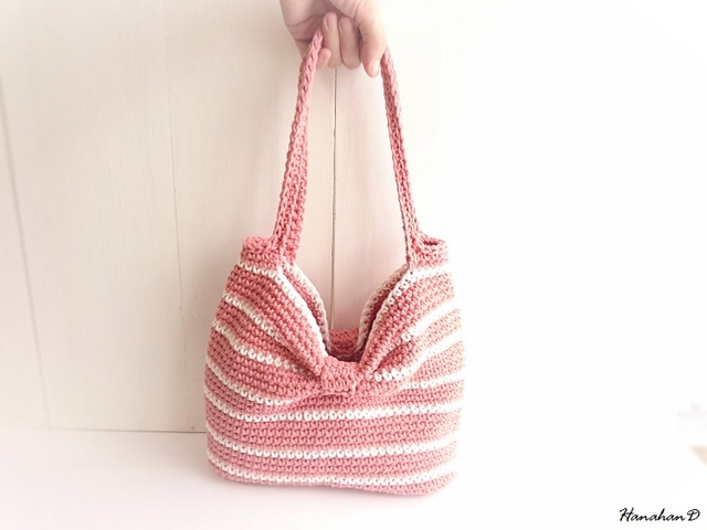 ボーダーリボンバッグ 手編みコットンピンク