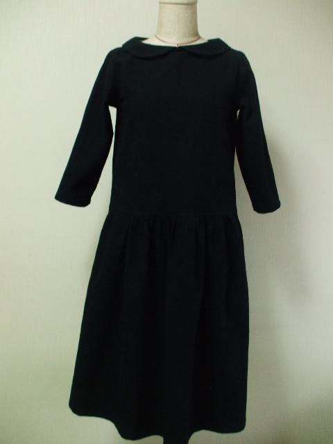 麻混素材 丸衿7分丈袖のワンピース Lサイズ 黒 リバティタナローン イザベラグレース 受注生産