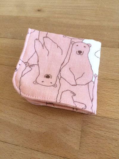 【再販です】origamiハンカチ *おとぼけシロクマ×チェック* ピンク