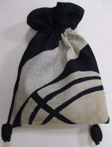 着物リメイク 藍染の筒掛けで作った巾着袋 1747