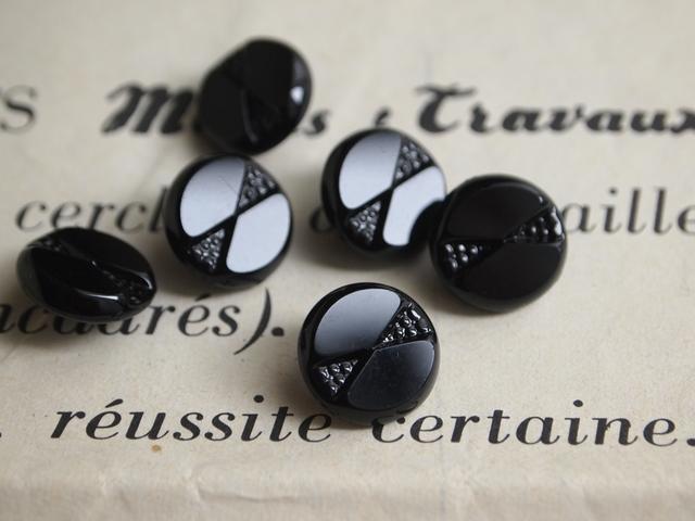 フランス 古いガラスボタン 黒 2個セット