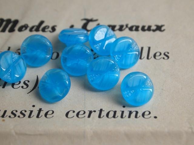フランス 古いガラスボタン 水色 2個セット