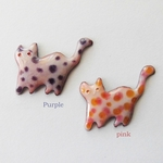 colorful cat brooch pin.(purple/pink)【受注制作】