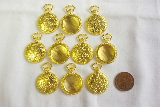 10個入り ゴールド懐中時計セット 内径約20mm B94