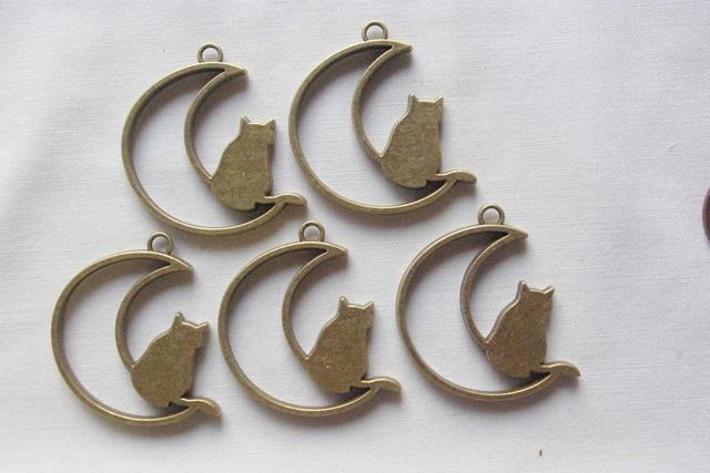 5個 猫と月枠ミール皿 アンティーク色...