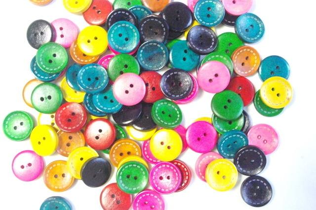 30個 縫い目入りカラフルボタン B103