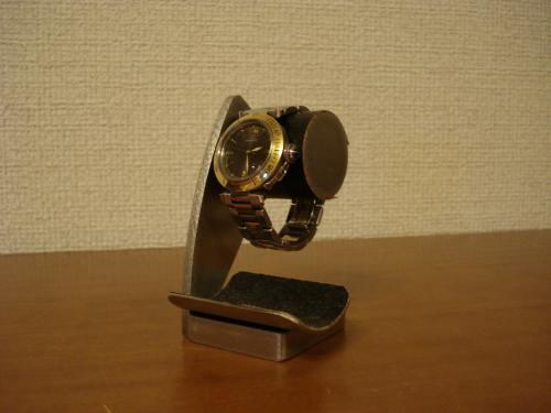 \t 腕時計スタンド ブラックコルクデスク腕時計スタンドブラックトレイ付き
