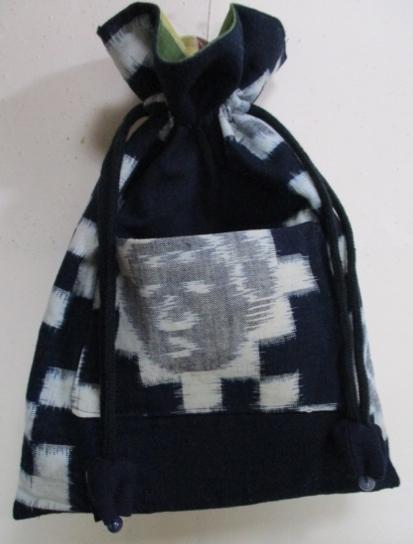 着物リメイク 久留米の絵絣で作った巾着袋 1751