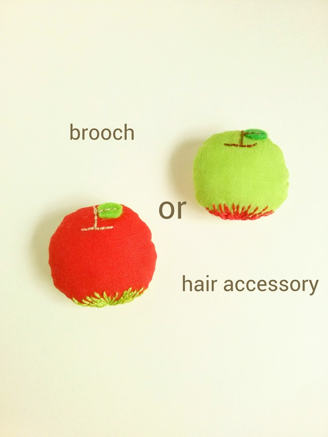 『りんご』ブローチorヘアゴム
