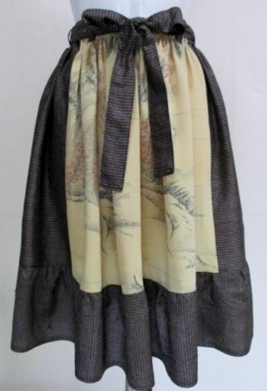 着物リメイク 大島と訪問着で作った膝丈スカート 1753