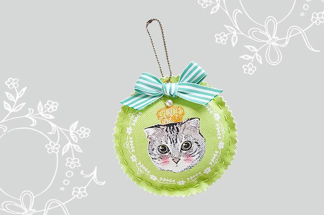 猫好きさんのキュートなにゃんこチャーム (Green)