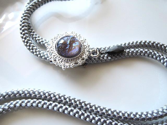 ちょっとだけアウトレット☆大人気です☆ループタイ☆高品質ドラゴンブレス(タンザナイトオパール)大きな15mmルース&宝石質イーグルアイペアシェイプブリオレットカット(1256)