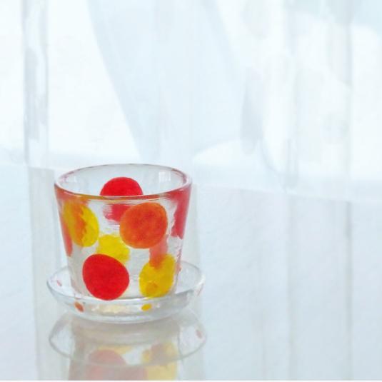 【名前入れ無料】箱入り?秋色の水玉グラスのC&S?
