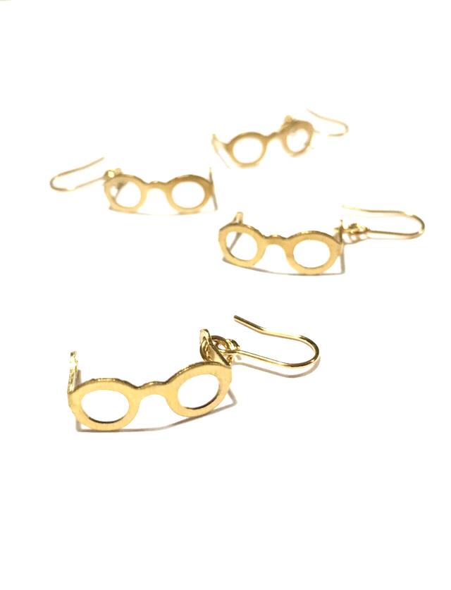 真鍮  メガネの ピアス/イヤリング.めがね ノンホールピアス