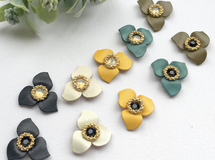 Leather Flower earring/ pierce