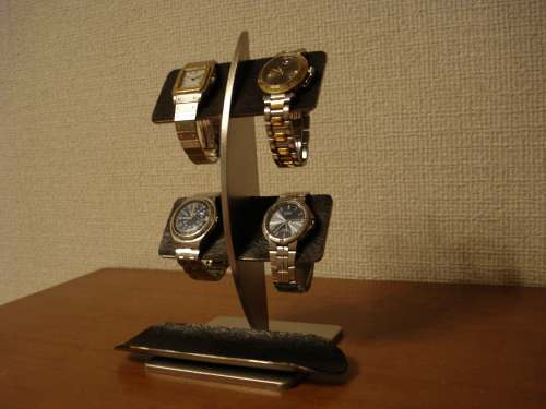 誕生日プレゼントに!ブラックコルク4本掛け腕時計スタンド ロングトレイバージョン[