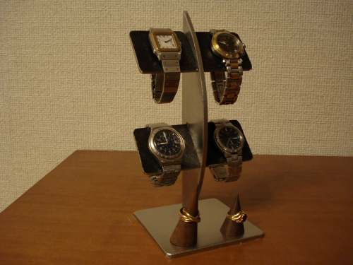 ブラックコルク4本掛け腕時計スタンド リングスタンドバージョン