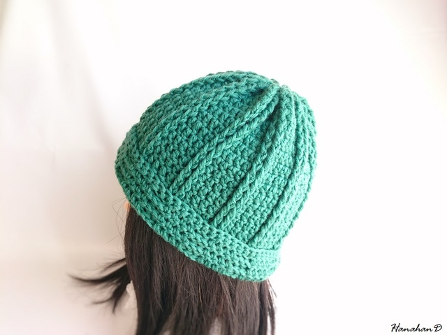★やわらかニット帽子 手編みウール グリーン