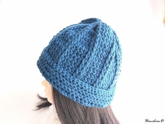 ★やわらかニット帽子 手編みウール ブルー