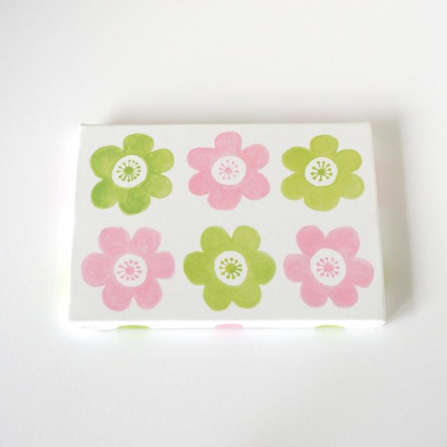 anemone ファブリックパネル (ピンク&グリーン)